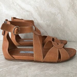 Prada Sandals Tan Leather US 6 Strappy Buckles